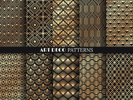 Art deco pattern. Golden minimalism lines, vintage geometric arts and deco line ornate. Geometrics gold minimal ornaments seamless gatsby elegant abstract luxury patterns vector set