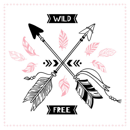 Wild free poster. Indian tribal cross arrows, american apache mohawk arrow. American hipster dream free quote with feather arrow, native arrows ornamental banner vector illustration