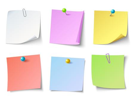 Notas de papel. Etiqueta engomada de la nota de la vista superior o papel adhesivo de la nota. Papel de carta, tachuela de negocios recuerdan notas adhesivas o papeles de boletín hoja conjunto de iconos aislados vectoriales coloridos