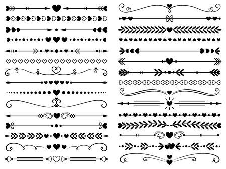 Hearts border divider. Love vintage decorative line separator, heart arrows and dotted separating lines or geometric curved frame borders. Elegant ornate heart page divider isolated vector symbols set Ilustração Vetorial