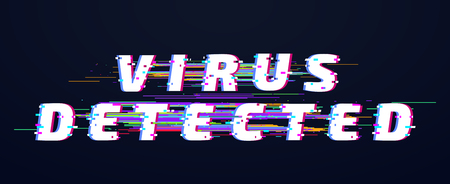 Glitch font. Virus detected glitched digital letters. Old glitch tv distortion abstract vhs futuristic text display vector illustration
