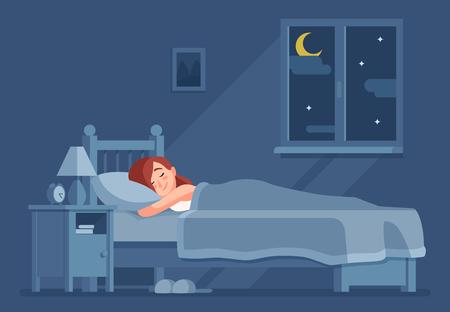 Dame endormie la nuit. Une femme dort dans son lit sous une couette. Intérieur de maison de chambre de fille, rêve de sommeil de literie relax concept de vecteur de dessin animé