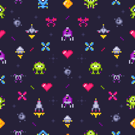 Old games seamless pattern. Retro gaming, pixels video game and pixel art arcade. Robot invader or space invaders pixelation computer game. 8 bit vector background illustration