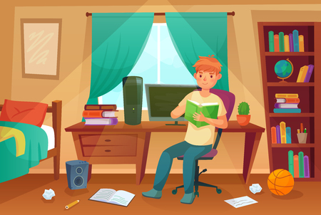 Student bedroom. Teenager read bock, college homework and student living room apartment. Children student bedroom or messy freelancer work disorganized house apartment cartoon illustration