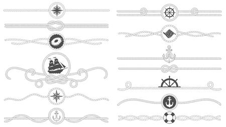 Borde de cuerda náutica. Línea de cuerdas atadas náuticas, divisor de ancla de barco de mar y bordes de decoración marina retro. Cuerdas marítimas de marinero o conjunto de símbolos de vector aislado de nudo de barco viejo