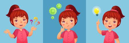 Niña preocupada. El niño hace preguntas, confunde y encuentra respuestas a preguntas. Retrato de niña pensativa, experimento de niño ansioso y encontrar la ilustración de vector de dibujos animados de respuesta