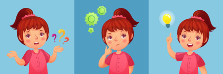 Worried little girl. Child ask question, confused and found questions answers. Thoughtful little girl portrait, anxious child experiment and find answer cartoon vector illustration