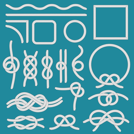 Marine rope knot. Ropes frames, cordage knots and decorative cord divider. Nautical tied sea boat knot marine ropes isolated vector icons set