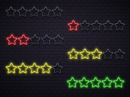 Neon five stars. Golden illuminated star neons lamps, night led hotel rating brick wall or private club event quality certificate. Premium elegant casino walls neon stars vector illustration