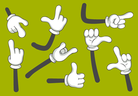 Cartoon hands. Gloved hands. Gloves arm point different finger gestures or palm gesture language comic doodle symbols. Vector gesturing isolated illustration icons set 일러스트