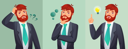 Thoughtful man. Male ask questions, doubt or confused and found question answer. Thinking serious decision. Hopeless, disappointed and have an idea cartoon expressions vector illustration