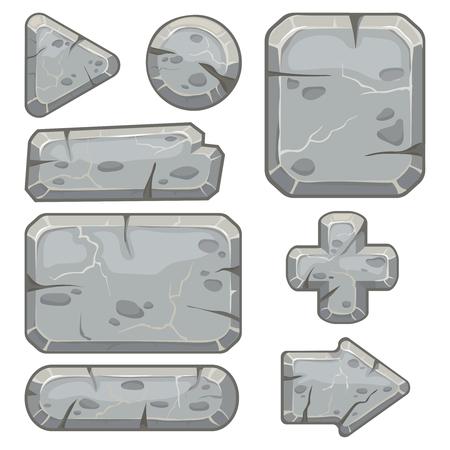 Kamienna rama. Baner z gruzem, kamienie blokują strzały i ramki na tablety ze żwirem dla aplikacji do gier niezależnych. Kreskówka kamień na białym tle wektor zestaw ikon Ilustracje wektorowe