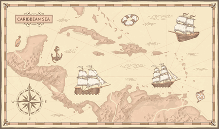 Old caribbean sea map. Ancient pirate routes, fantasy sea pirates ships and vintage pirate maps. Old marine map, ancient nautical compass and ship. Geographical vector concept illustration Ilustracja