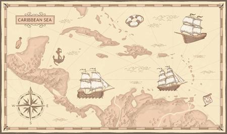Vecchia mappa del Mar dei Caraibi. Antiche rotte dei pirati, navi dei pirati marini fantasy e mappe dei pirati vintage. Vecchia mappa marina, antica bussola nautica e nave. Illustrazione del concetto di vettore geografico