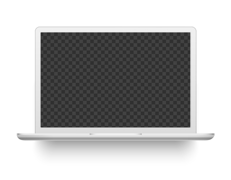 White laptop. Mockup electronics device. Modern computer electronic desktop device or notebook realistic vector illustration