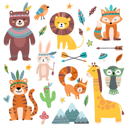 Funny tribal animals. Woodland baby animal, cute wild forest fox and jungle tribals zoo. Jungle lion, tiger and giraffe tribal characters. Isolated cartoon vector character icons set