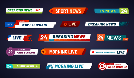 Tv news bar. Television broadcast media title banner. Sports tv show news channel media bar header or football advertising channels bars. Isolated vector symbols set 矢量图像