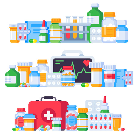 Medications. Medicine pills, pharmaceutical medication bottle and antibiotic pill. Pharmacy drugs, flu syrup and aspirin or ointment cure. Painkiller treatment isolated vector illustration set