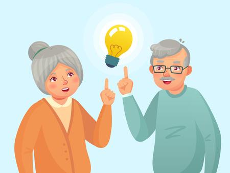 Idée de personnes âgées. Un couple de personnes âgées a une idée, un problème de réflexion pour les personnes âgées. Solution grand-père et grand-mère. La famille a une illustration de vecteur de dessin animé d'expression d'idée
