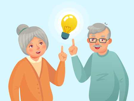 Seniors idea. Old people couple have idea, elderly senior thinking issue. Grandfather and grandmother solution. Family have an idea expression cartoon vector illustration