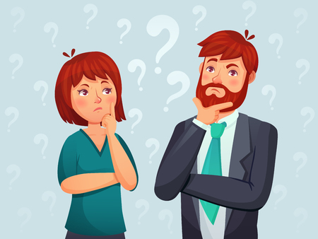 Thinking couple. Thoughtful man and woman, confused troubled question and people finding answer. Retired thinking and worried businessmans characters cartoon vector illustration Vetores