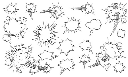 Speed cloud comic. Cartoon fast motion clouds, smoke blast or puff cloud motions. Comic book air wind storm blow explosion vector isolated icons set 向量圖像