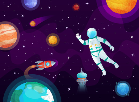 Cosmonaut in space. Astronaut spacecraft rocket in open space, universe planets and planetary. Solar system, globe and astronauts ship. Stars rockets travel cartoon vector background illustration