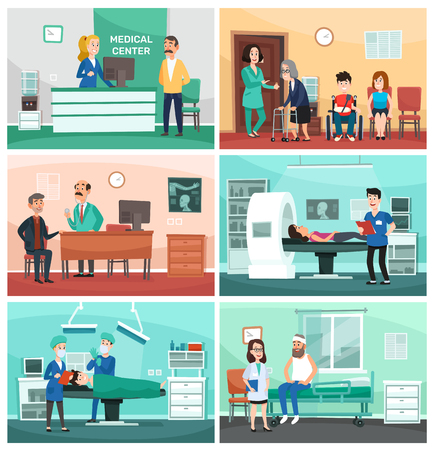 Medical hospital. Clinical care, emergency nurse with patient and hospitals doctor. Laboratory outpatient service, patients waiting for treatment and operation. Vector cartoon illustration set