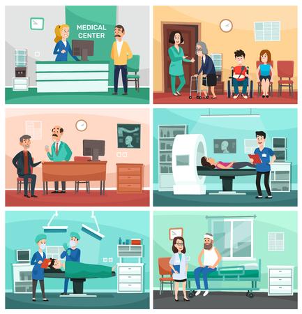 Medizinisches Krankenhaus. Klinische Pflege, Notfallkrankenschwester mit Patient und Krankenhausarzt. Laborambulanz, Patienten warten auf Behandlung und Operation. Vektor-Cartoon-Illustration-Set