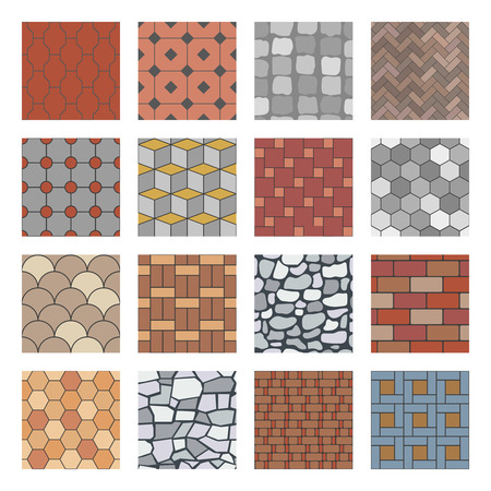 Paving stone pattern. Brick paver walkway, rock stones slab and street pavement floor block. Architectural elements, garden stones floor road. Seamless isolated vector patterns set