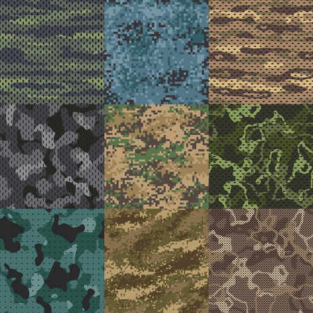 Khaki texture. Camouflage fabric seamless patterns, military clothes textures and army print. Abstract khaki camo soldier uniform texture, hunting uniforms vector pattern background set Vettoriali