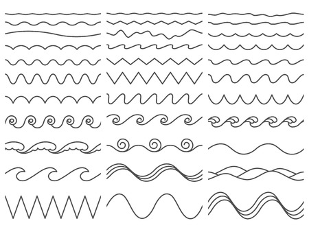 Wavy lines. Wiggly border, curved sea wave and seamless billowing ocean waves. Wiggle parallel waves, squiggle horizontal wave border. Vector illustration isolated icons set Çizim