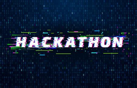 Fondo de hackathon. Evento de codificación de maratón de pirateo, póster de falla y flujo de código de datos binarios saturados. Monitor cyberpunk posmoderno, ilustración de fondo de vector futurista hackathon