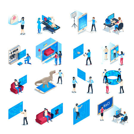 Virtual reality device. Isometric immersion training experience in vr equipment. Immersed human, virtual communication or augmented reality education. Isolated icons vector illustration collection Иллюстрация