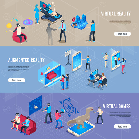 Isometric people in vr. Portable virtual reality simulation headset banners. Augmented reality immersion experience, immersed people in vr glass. Vector futuristic illustration collection Иллюстрация