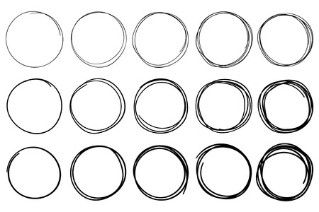Sketch circles. Circular doodle frame, hand drawn pen stroke circle and circled frames. Black hand drawn circled sketch, scribble round marker or sphere graffiti. Isolated vector icons set
