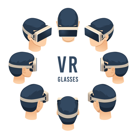 Head in vr glasses. Isometric virtual reality headset game or education experience. Digital headset, augmented reality glasses futuristic entertainment. Isolated vector illustration set