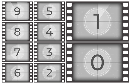 Cinema film countdown. Old movie films strip frame, vintage intro screen counting numbers or retro timer frames. Movie countdown, filmstrip or cinema slide reel television vector illustration  イラスト・ベクター素材