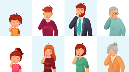 Facepalm gesture. Disappointed people embarrassed faces, hide face behind palm and shame gestures. Sad stressed faces, worry disappointed facepalm expression cartoon vector illustration set
