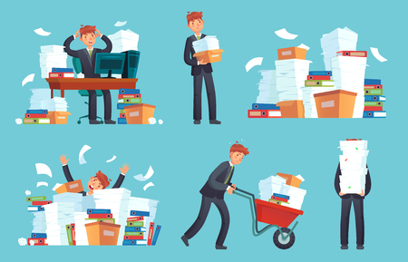 Unorganized office papers. Businessman overwhelmed work, messy paper documents pile and files stack. Unfinished office document work, stressed businessman cartoon vector illustration set