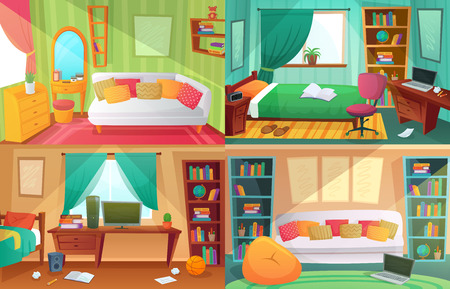Jugendzimmer. Studenten überladenes Zimmer, Teenager-College-Haus-Wohnung und Wohnzimmermöbel. Jugendwohnungsinnenraum, unordentliche schmutzige und saubere Schlafzimmerkarikaturvektorillustrationssatz
