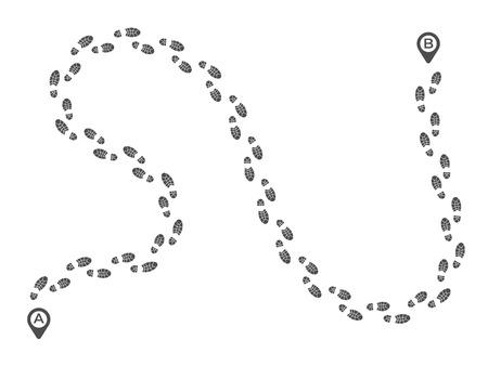 Footsteps walking route. Footprint imprint way track, run foot feet tracks and walk footstep. Cross trekking imprint, foots shoe steps or footsteps vector illustration
