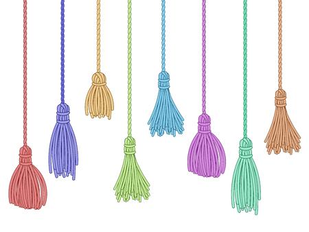 Garniture à pompons. Glands de rideaux en tissu, bouquet de franges sur corde et ornements colorés d'oreillers. Bouquet d'embellissement de franges de vêtement, brosse de fils à volants. Ensemble de symboles vectoriels isolés Vecteurs