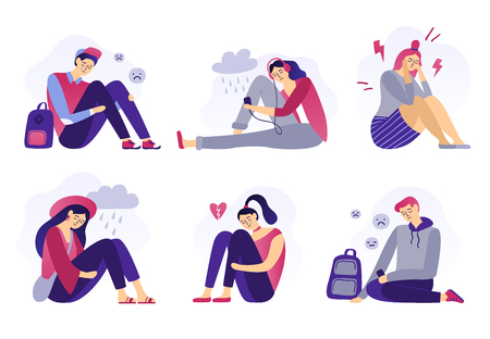 Depressed teenagers. Sadness student, unhappy stressed teen sad boy and crying girl. School stress, anxious introvert teen, lonely bullying abused teenager. Isolated flat vector illustration icons set