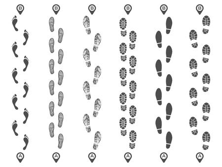 Pasos rastrea rutas. Sendero de huella, ruta de huella de huella de paso y alfileres de mapa de pasos a pie. Caminar huellas, pies cruzan la pista aislada conjunto de ilustraciones vectoriales