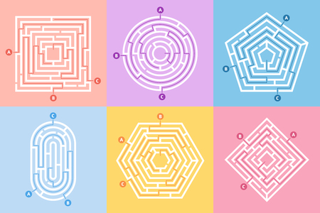 Labyrinth game. Maze conundrum, labyrinth way rebus and many entrance riddle. Arcade labyrinths games, right or wrong paths and doors entrance leisure challenge. Vector concept illustration set