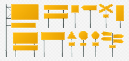 Yellow road sign. Empty street signs, transport road boards and signboard on metal stand. Directional navigation destination roads travel signage. Realistic vector illustration isolated icons set