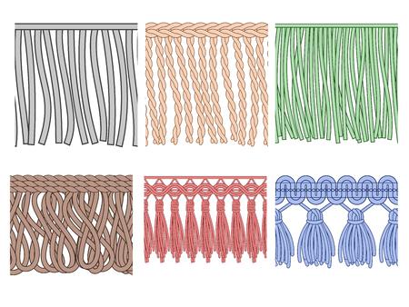 Fransenbesatz. Textilfransen, rohe Stoffkanten und modische Kleiderrüschen. Nahtlose Rüschenfaser, Rüschennähen Polyesterfaser. Isolierte Vektormuster Icons Set