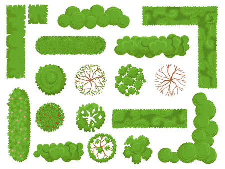 Top view trees and bushes. Forest tree, green park bush and plant map elements look from above isolated vector set Ilustração