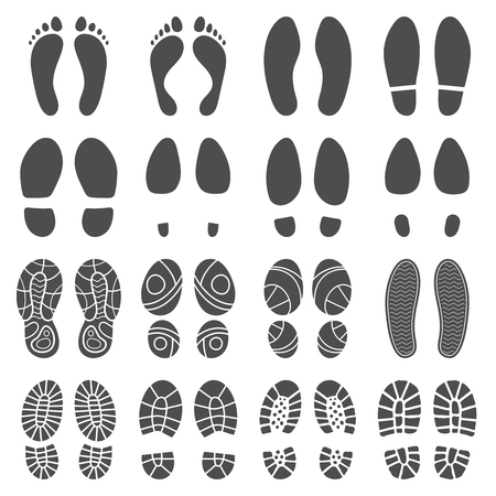 Footprints silhouettes. Barefoot steps prints, boots step and foot feet print. Human footprint, boots shoe walking stepping texture. Isolated vector silhouette icons illustration set